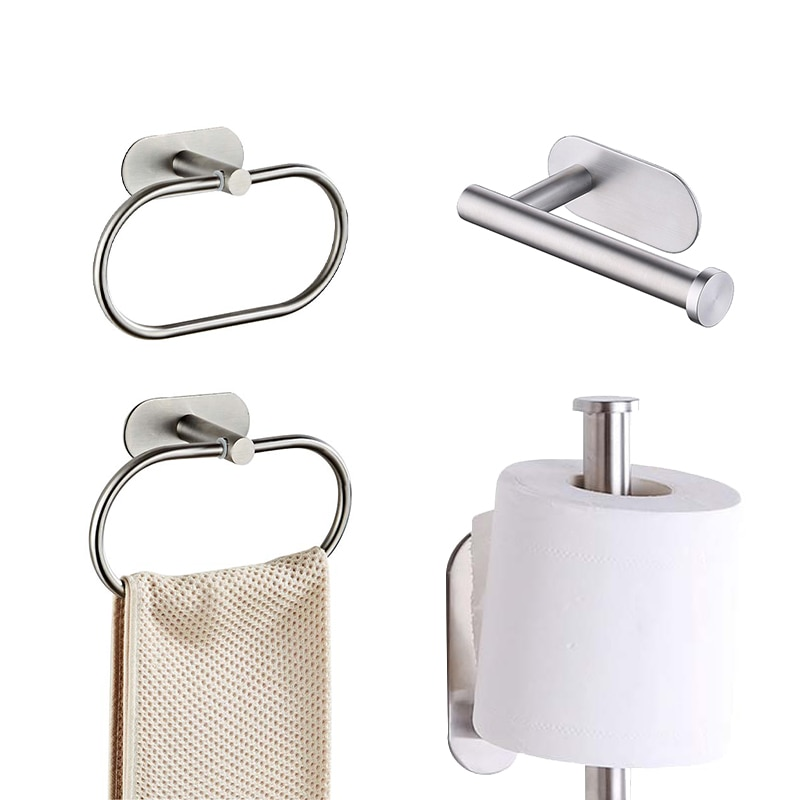Wall Mount Self Adhesive Toilet Roll Paper Holder Towel Ring Rail Rack Holders Stainless Steel Bathroom Kitchen Tissue Accessory kitchen toilet paper holder adhesive wall mount stainless steel hanging organizer bathroom tissue towel accessories rack holders