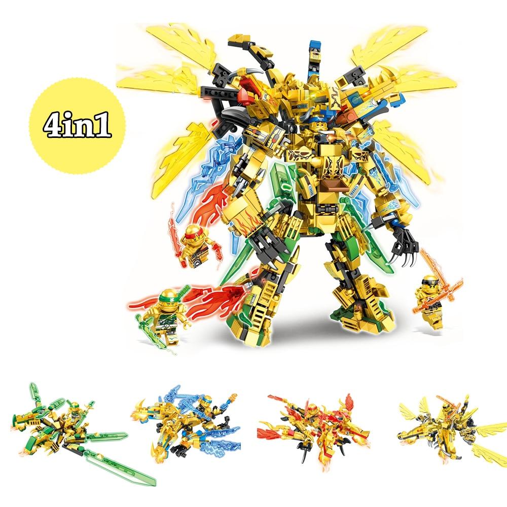 Ninjago 2020 ninja dragão blocos 4in1 ouro santos buiding tijolos kai jay zane figuras modelo conjunto educação brinquedos para crianças