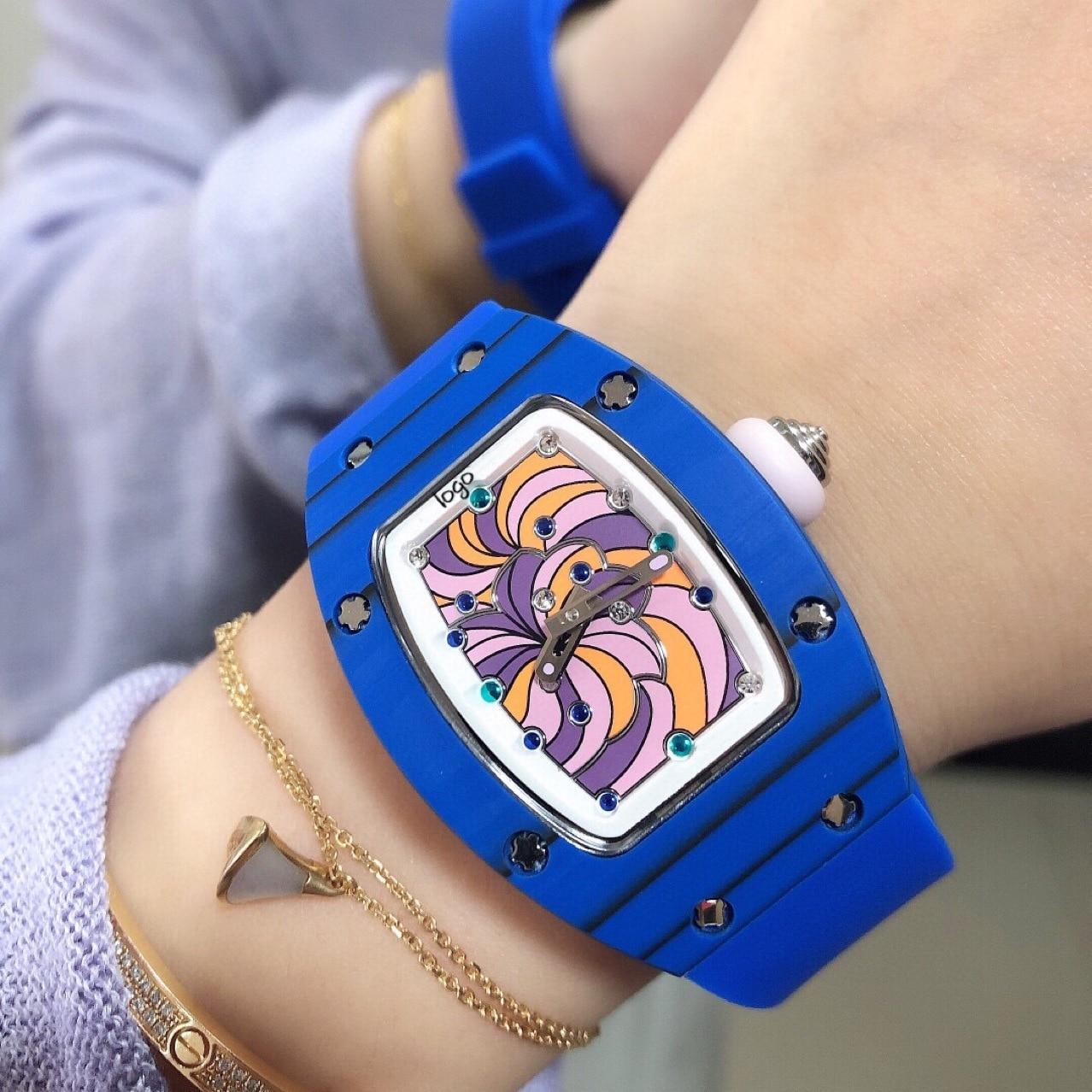 2021 new ladies fashion watch Richard RM07-01 automatic mechanical blue carbon fiber blue tape waterproof watch ladies watch enlarge