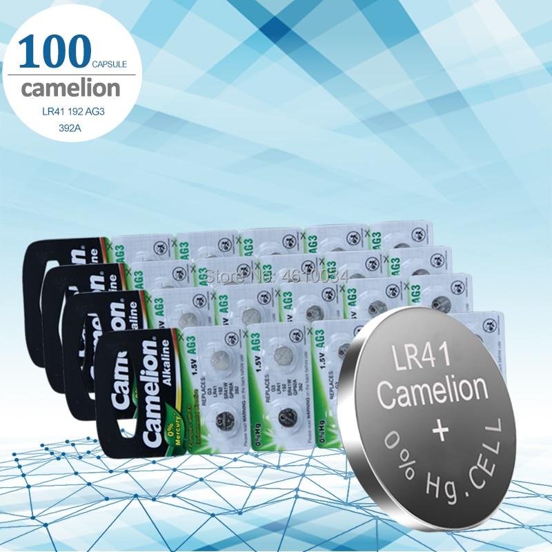 100 baterias da pilha do botão dos pces lr41 camelion sr41 ag3 g3a l736 192 392a zn/mno2 1.5 v baterias da moeda do lítio
