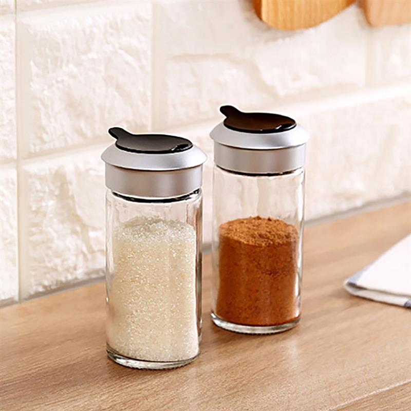 1 uds, utensilios de cocina de vidrio transparente, agitador de especias, pimienta, tarro de especias, tapa giratoria, condimento, botella de azúcar y sal