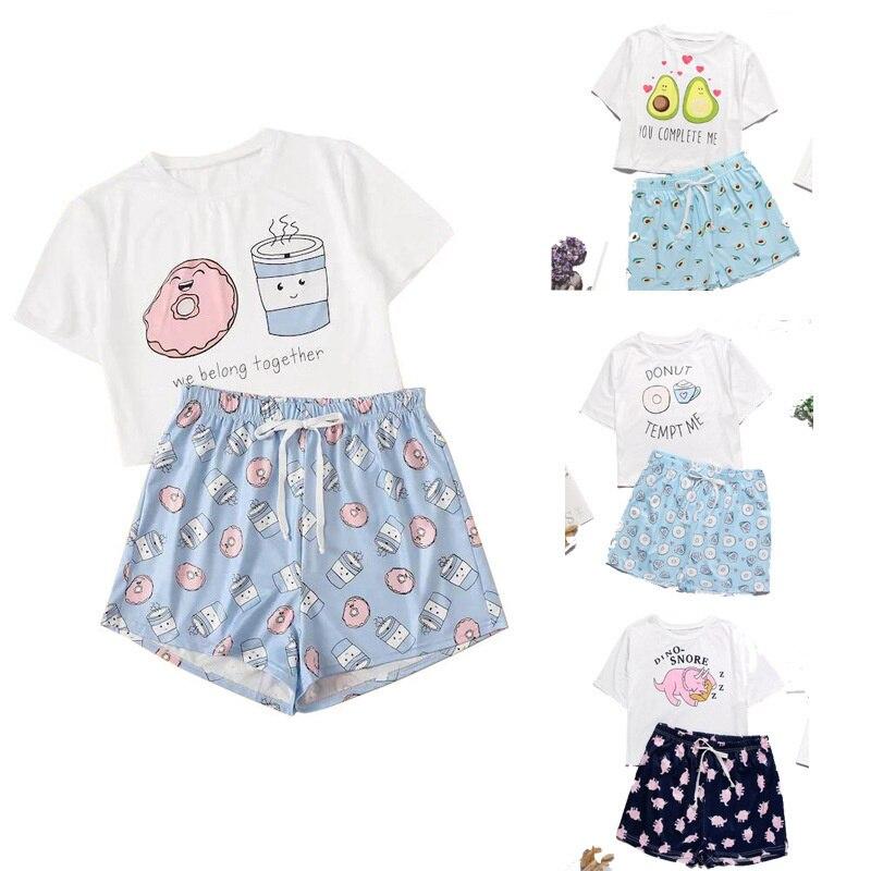 Women Pajamas Cute Sleepwear 2 Pieces Set Shirt+Shorts Pajamas Set Print Nightwear Cartoon Lingerie