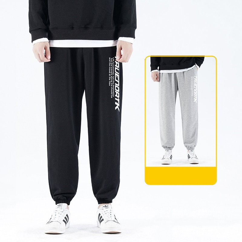 Korean Men Sweatpants Hip Hop Casual Trousers Print Letter Wide Leg Trousers 2021 Spring Autumn Men