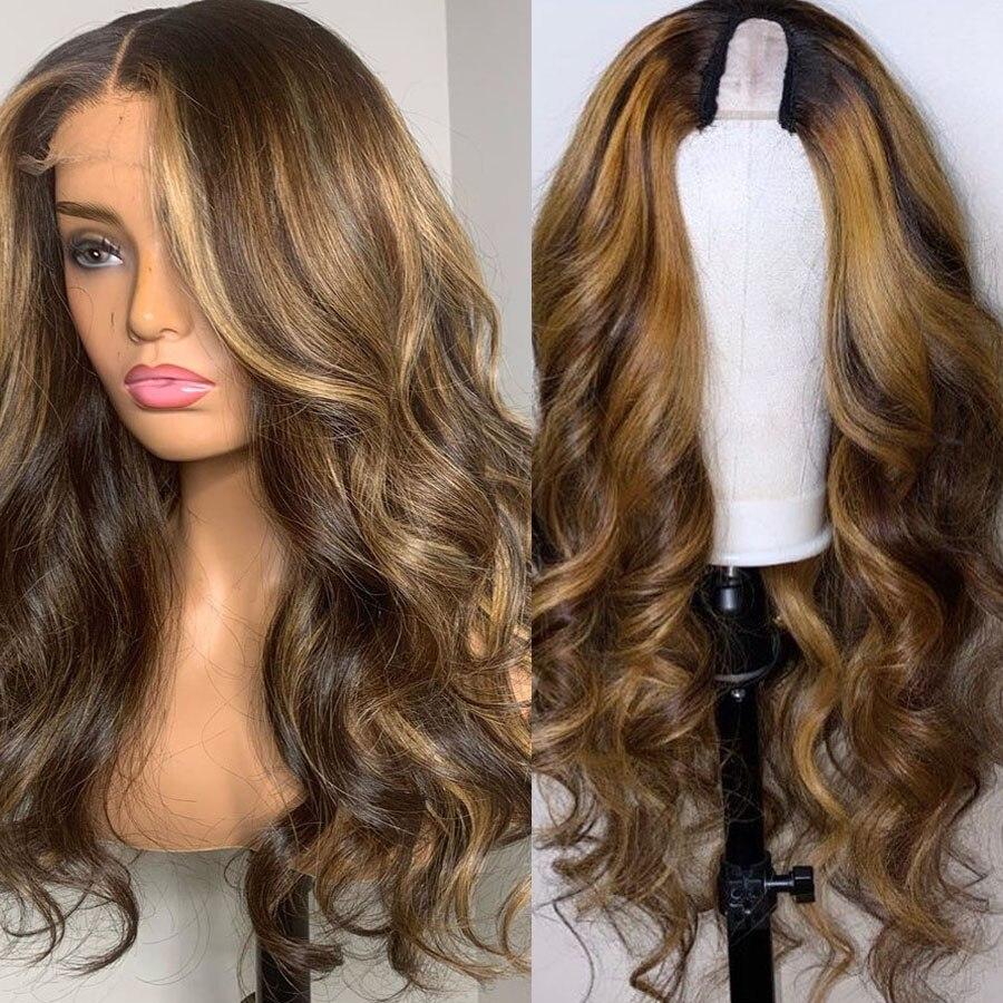 Pelucas de cabello humano para mujeres negras 200 densidad 1x4 parte U parte de Remy de encaje suizo Malasia