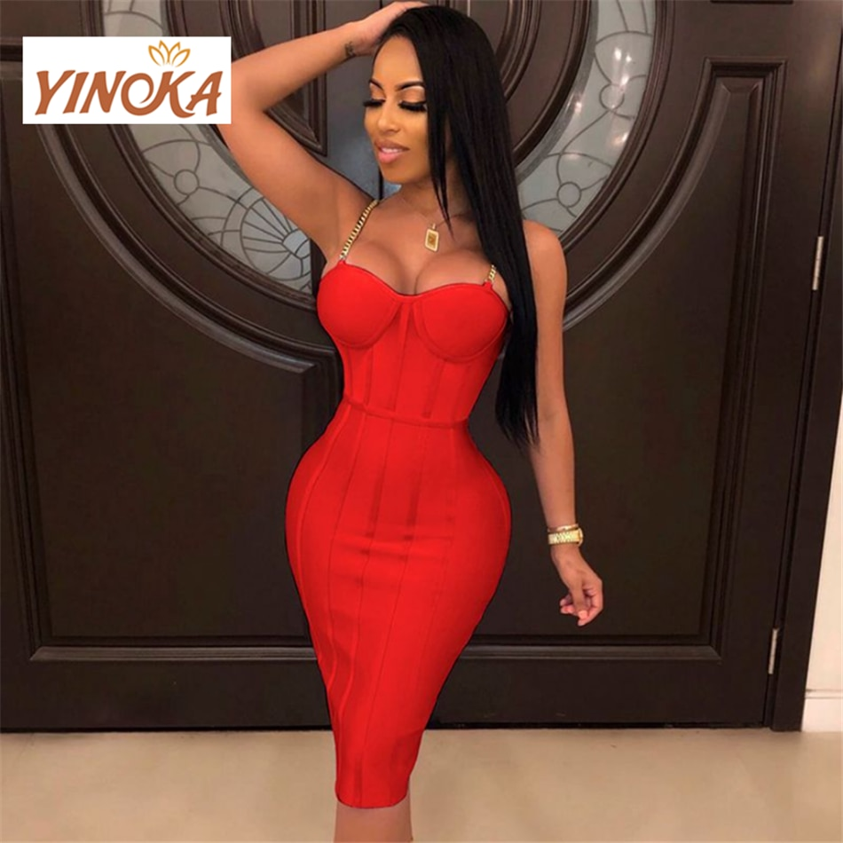 Yinoka الأحمر ضمادة فستان bodycon المرأة مثير الألوان الخامس الرقبة قماش حرير صناعي موضة نوفا كوكتيل partywear