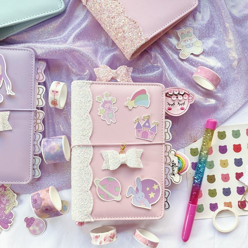 Cute Sequin Girl Diary Notebook Loose-leaf Korean Stationery Supplies A6 Creative Planner Notebook Kawai