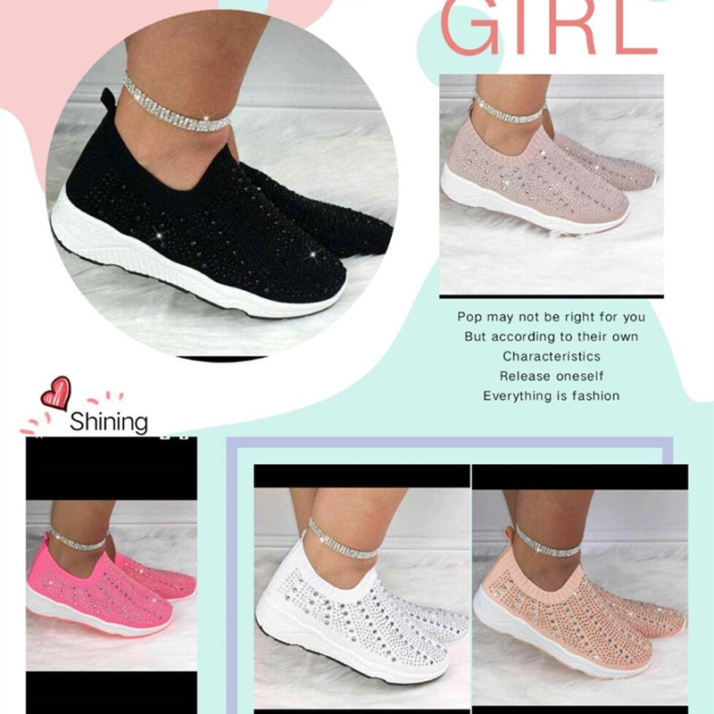 2020 White Sneakers Women Vulcanized Shoes Summer Slip On Flat Shoes Casual Crystal Fashion Bling Sneakers Ladies Trainers  - buy with discount