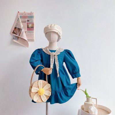 Vestido de manga abombada para niñas pequeñas, chal de encaje, sólido, de...