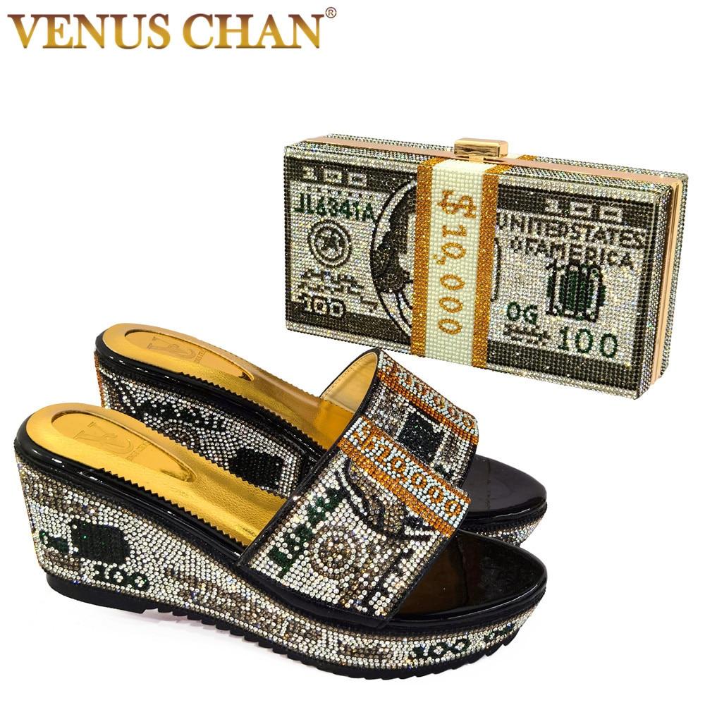 فينوس تشان 2021 كومة من النقدية مصمم السيدات الأحذية و مجموعة الحقائب المال مخلب محفظة أكياس مساء الماس حزب كعب عالٍ للسيدات