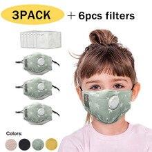 Atacado criança reutilizável dos desenhos animados à prova de poeira pm2.5 respirador capa s 3 pc + 6 pc filterscotton pano reutilizável rosto cachecol