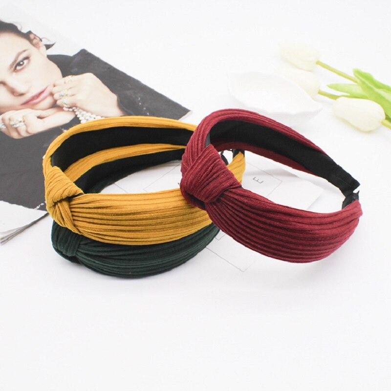 Hairband Estilo simples Top Nó Turbante Acessórios Faixas de Cabelo Cabeça Hoop Headband do Elástico Do Vintage para As Mulheres Meninas Imprimir Cocar