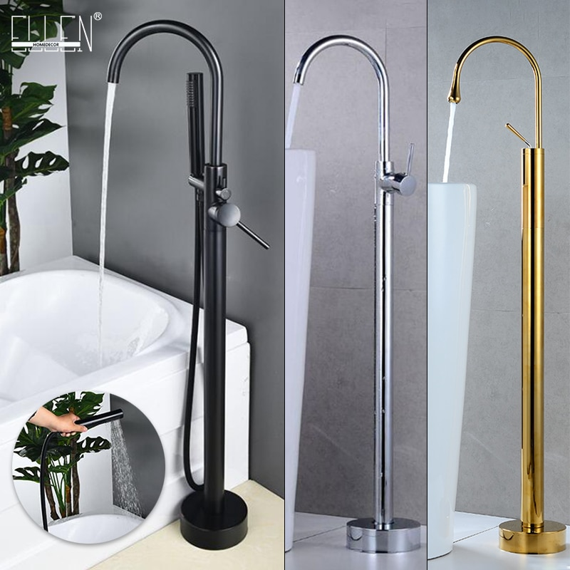 Antique Bronze Floor Stand Bath Faucets Bathtub Hot Cold Water Mixer Flooring Faucet Black / Chrome/Gold Finished  MLB2004