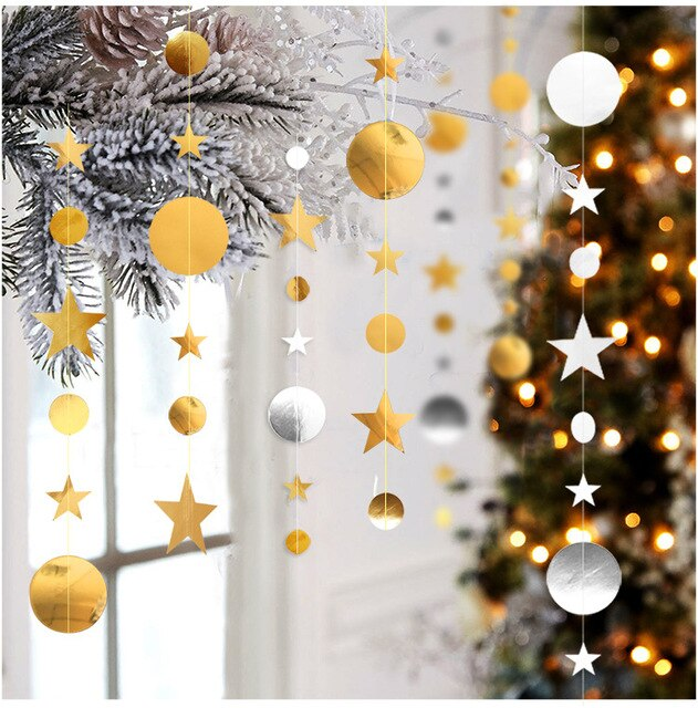 4m Circle Star Garland Paper Garland Banner Party Decoration Bunting Wedding Birthday Party Christmas Decoration Supplies 6