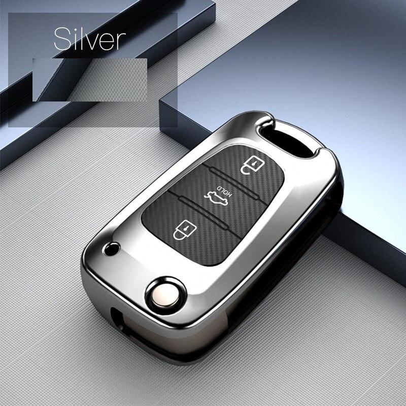 TPU+Carbon fiber grain Key Cover Key Case For Hyundai i20 i30 i35 iX20 iX35 Solaris Verna For Kia RIO K2 K5 Sportage Sorento