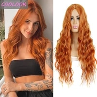 ginger orange body wave wigs for black women 26long wavy wig water wave cosplay wigs synthetic heat resistant fibre false hair