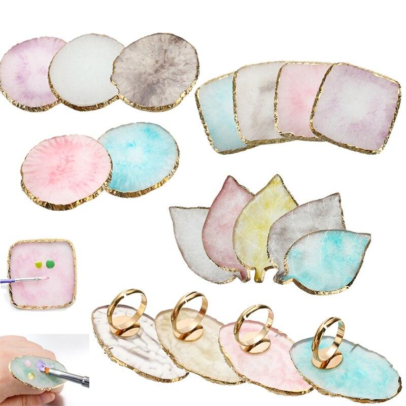 Resin Stone Eyelash Glue Holder Finger Ring Plate Nail Art Ring Palette Gel Polish Foundation Mixing Cosmetics Makeup Tool