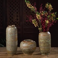 vintage ceramic flower vase coated green bubble glaze hydroponics plant pot for home table decor
