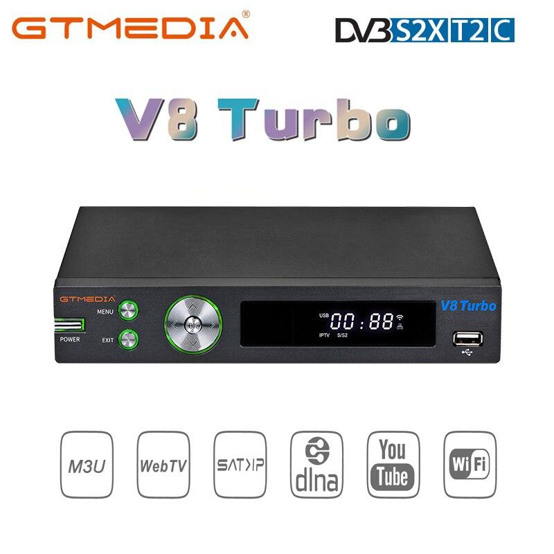 Gtmedia v8 turbo receptor de satélite fhd tv decodificador dvb s2x t2 cabo m3u ca slot para cartão youtube para v8 pro 2 versão atualizada