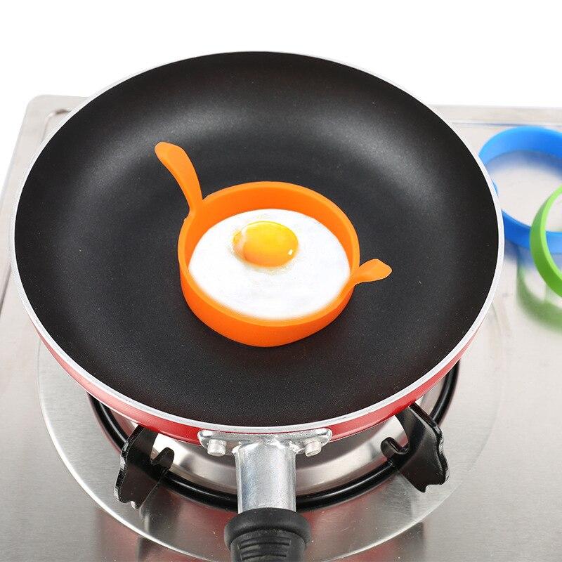 Molde redondo de silicona para freír huevos, utensilio para hornear, molde antiadherente...