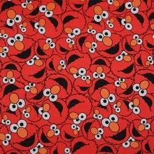 Toile de coton rouge de bon dessin animé   Pour sac, sésame impression de rue, tissu de toile, matériel de couture, bricolage canapé/chaussures/oreiller