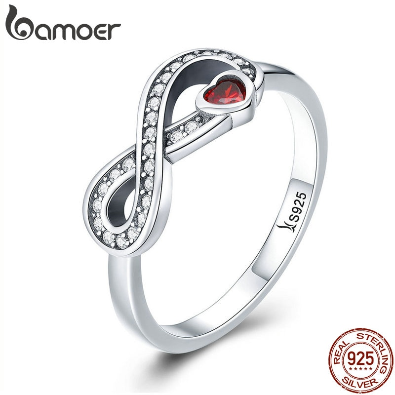 BAMOER 100% 925 Sterling Silver Infinity Love Forever Heart Clear CZ Finger Ring for Women Wedding Engagement Jewelry SCR415
