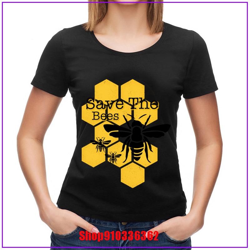 Honeycomb Save The Bees camiseta de mujer Tops rojos prendas de corredor de carreras Funky verano algodón camiseta Hip Hop camisetas únicas mujer