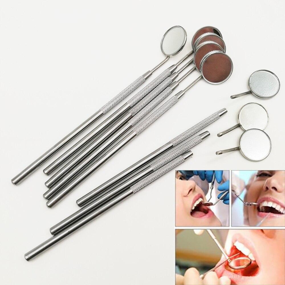 2 piezas de instrumentos de espejo Dental de acero inoxidable para el cuidado bucal de los dientes para blanquear los dientes herramientas de dentista para la odontología espejo de laboratorio