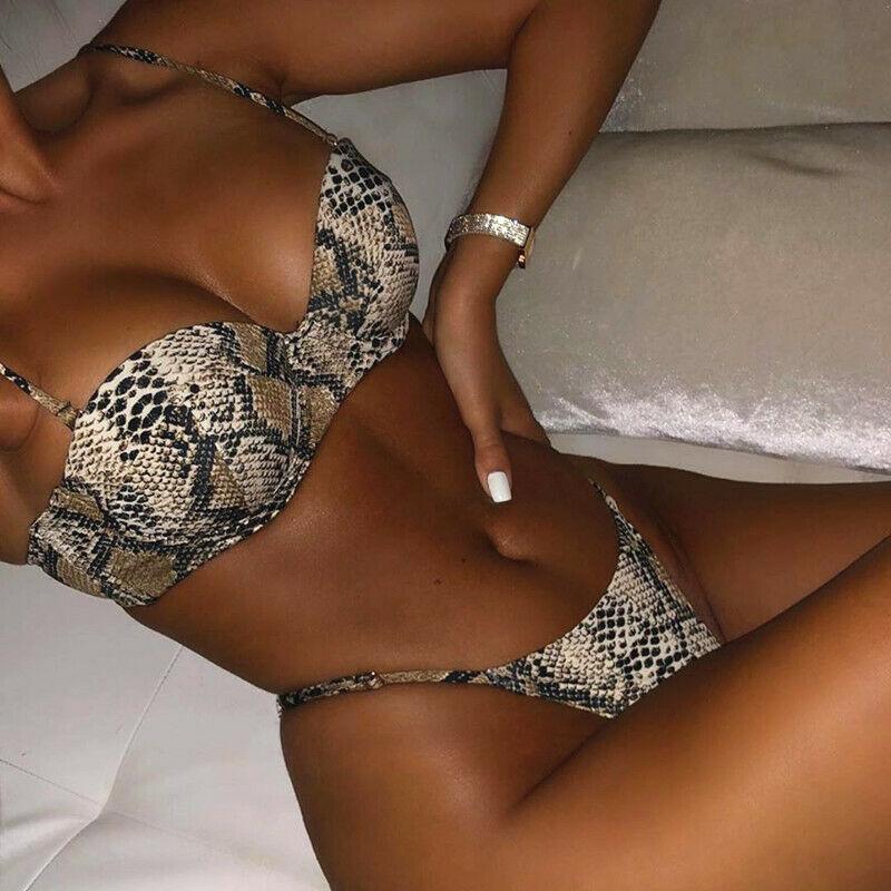 ¿De Bikini de piel de serpiente para mujer... Sujetador con relleno con...