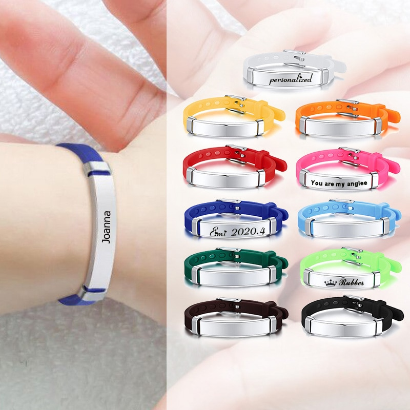 Safty Silicone Baby ID Bracelet Custom Name Girls Boy Children Rubber Brands Personalized Wristband