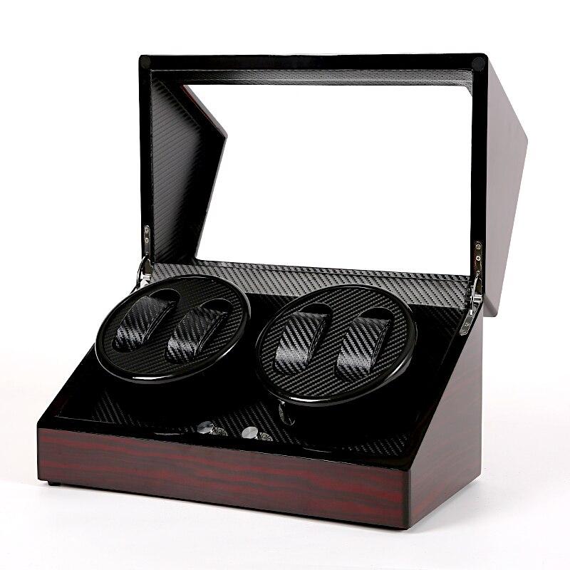 4 caixa de enrolador relógio automático relógios armazenamento jóias titular exibição couro do plutônio ultra silencioso shaker motor watchwinding caixa