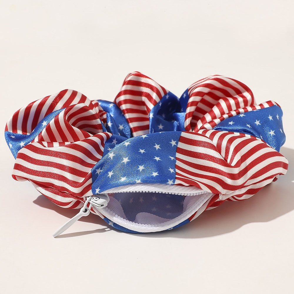 Hot New The American Flag Pattern Hair Pocket Scrunchies July Fourth Zipper Hair Schrunchies The Stars and Stripes Hairbands