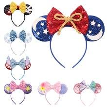 Disney-Diadema con orejas de Mickey Stitch para mujer, lazos para el pelo de lentejuelas, diadema para Navidad, Halloween, accesorios para el cabello para niña