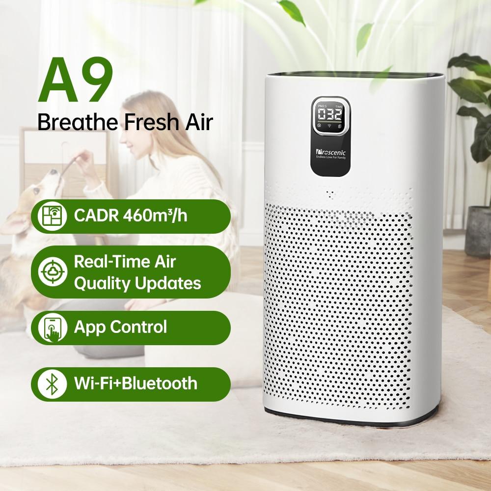 Proscenic A9 Air Purifier 460m³/h CADR,H13 True HEPA Filter for 592ft² Room,APP Alexa Google Voice Control ,Ultra Quiet 25 dB