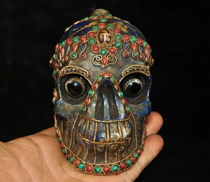 "Decoración de boda de 4 ""lapislázuli, filigrana de plata con incrustaciones de ágata, GEMA de Dzi, tara, estatua de cabeza de calavera de Diablo"