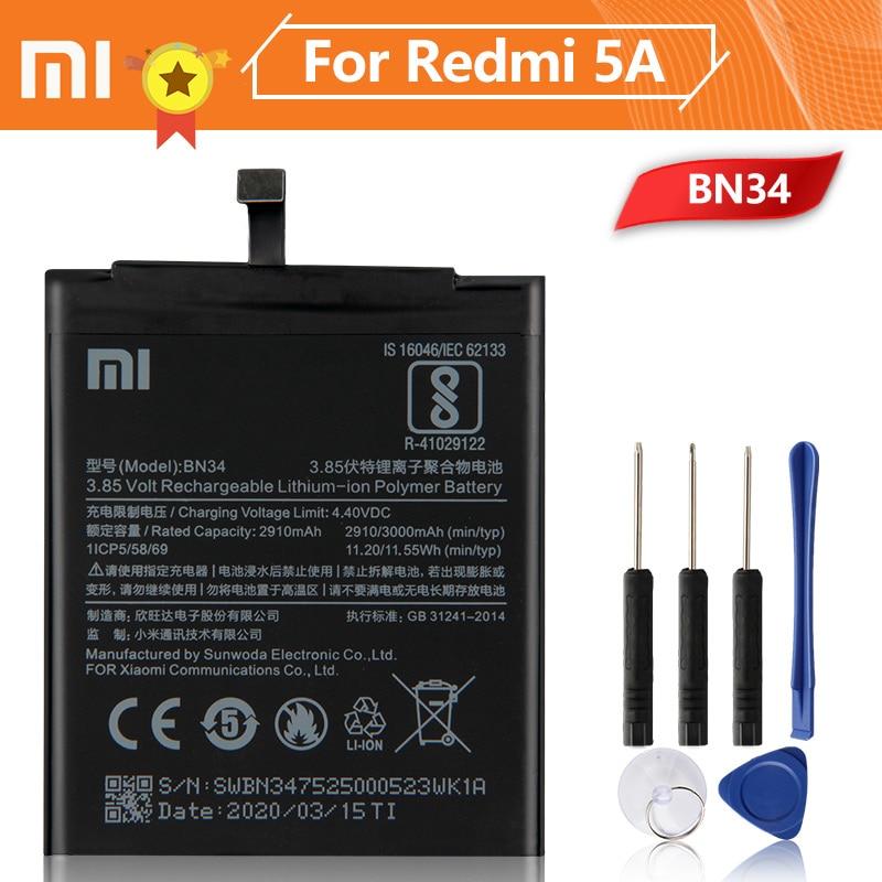 Xiao Mi Xiaomi BN34 Phone Battery For mi Redmi 5A Redrice 3000mAh Original Replacement + Tool