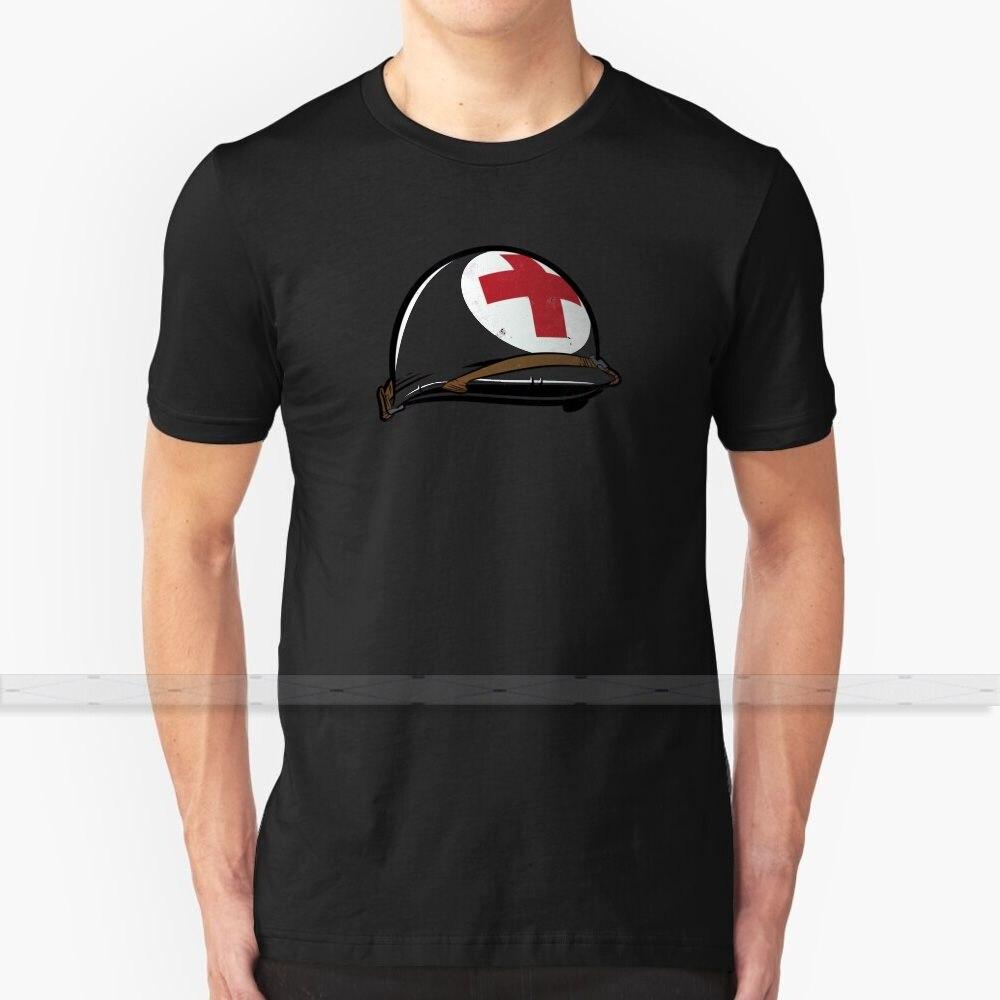 Camiseta de algodón con diseño personalizado del casco del Ejército Médico para hombres y mujeres camisetas de verano del ejército casco médico Estados Unidos ww2 world