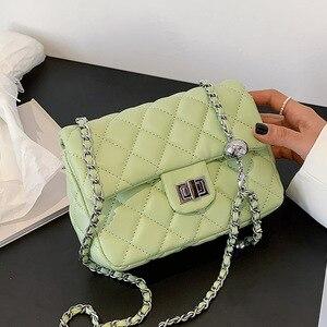 Lingge Chain Flap Bag Mini PU Leather Crossbody Shoulder Bags for Women 2021 Fashion Branded Handbags Female Luxury Phone Purses