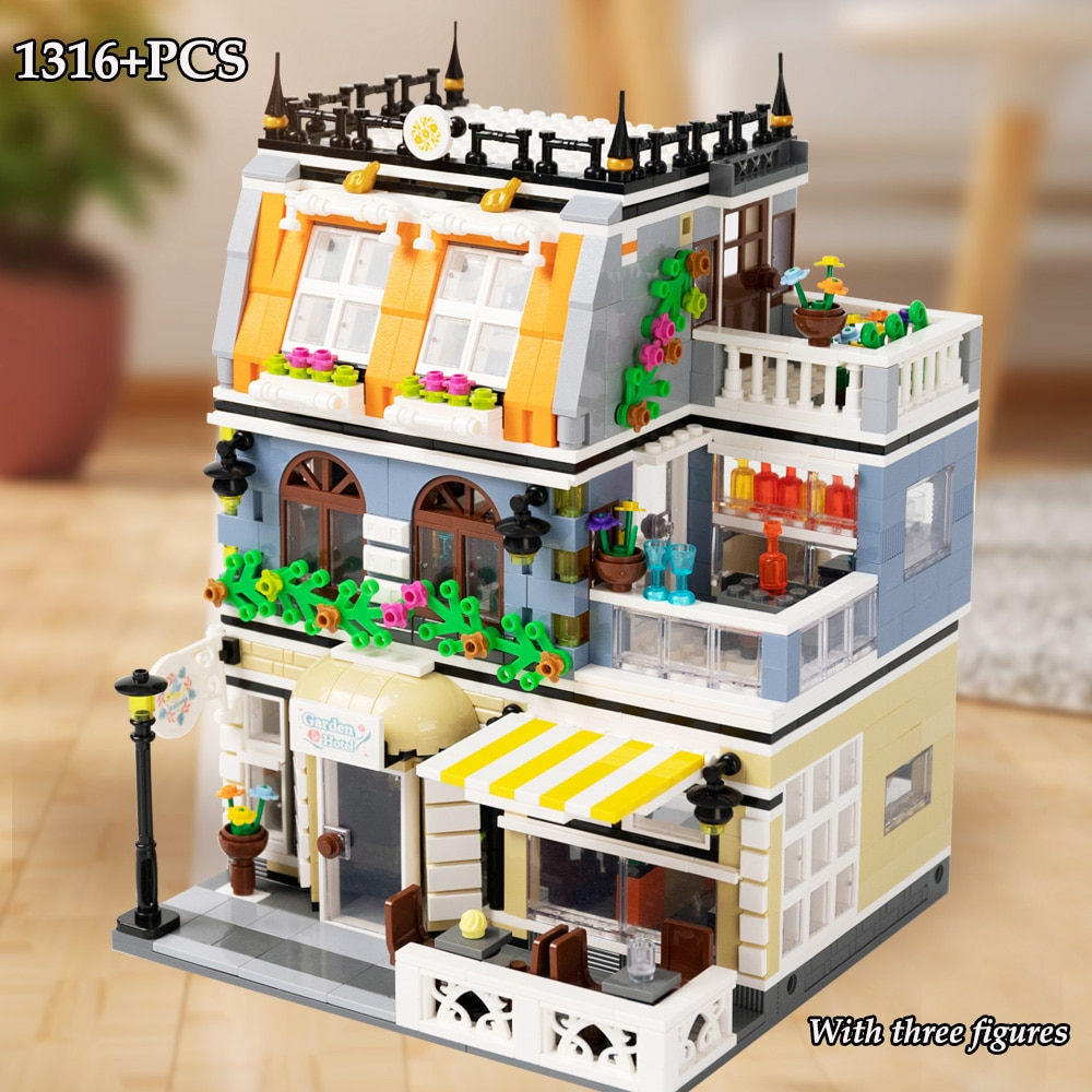 military city the way building blocks obstacle block model moc compatible city street view ww2 scenes diy christmas gift toys MOC Garden Hotel Model City Streetview Architectural Building Blocks DIY Cafe Restaurant Street View Bricks Toys For Children