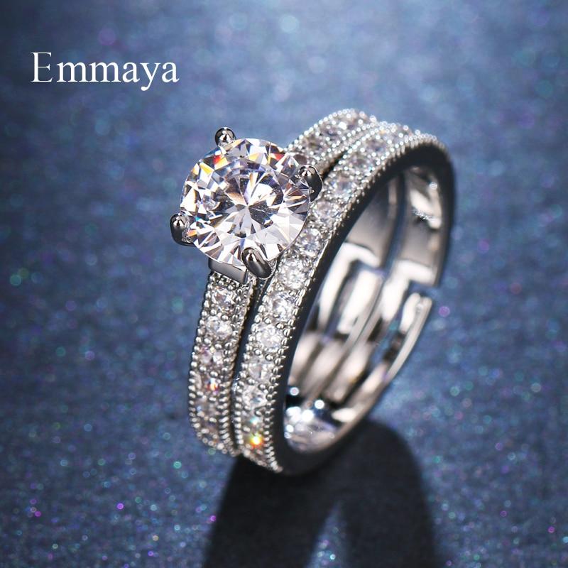Emmaya Elegant Ring Set Wedding Engagement fashion Jewelry Full Of Zirconia Fancy Jewelry For Lovers Personality Dress-up