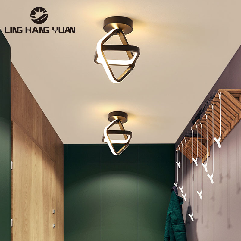 Black Led Ceiling Light For Home Modern Chandelier Ceiling Lamp Living room Bedroom small Corridor Lamp  Aisle Light Fixtures iwhd colorful nordic modern led ceiling light fixtures porch corridor bedroom round glass ball ceiling lamp plafonnier lighting