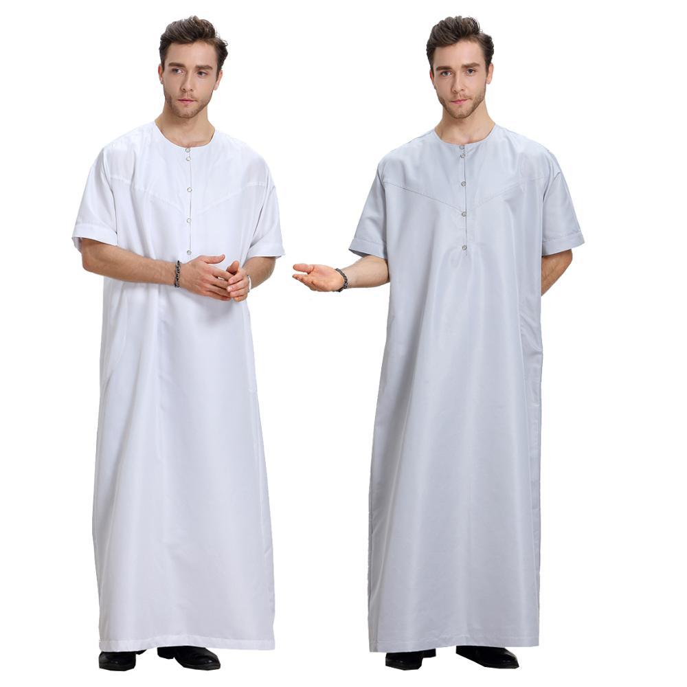 Verano Abayas Eid Musulman De modo Homme hombre Abaya musulmana vestido De traje De Arabia Saudita Kleding Mannen Kaftan Omán ropa Islam