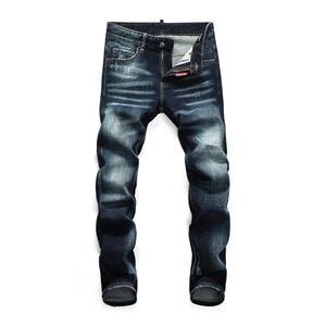 Hot Men's pants Dsq ripped patch painted varnished men's DSQ jeans