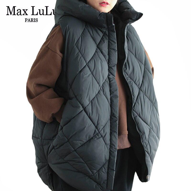 ماكس لولو-صدرية مبطنة للنساء ، علامة تجارية كورية فاخرة ، سترات دافئة فضفاضة غير رسمية ، ملابس كبيرة الحجم بغطاء للرأس ، مجموعة شتاء 2020 الجدي...