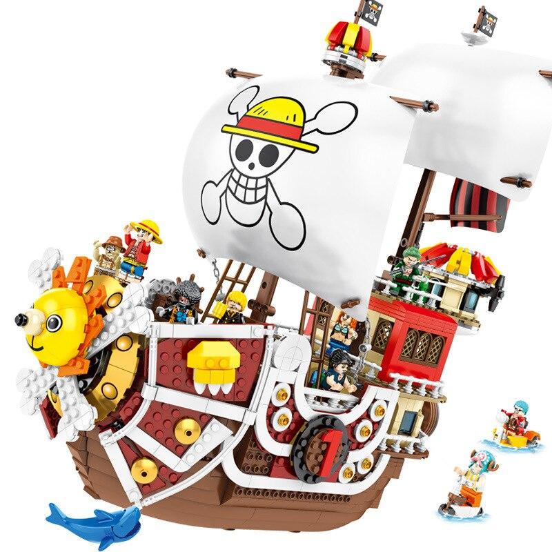 1484 uds Compatible Legoing mil soleado barco pirata Luffy bloques modelo Techinc Idea cifras Juguetes de bloques de construcción