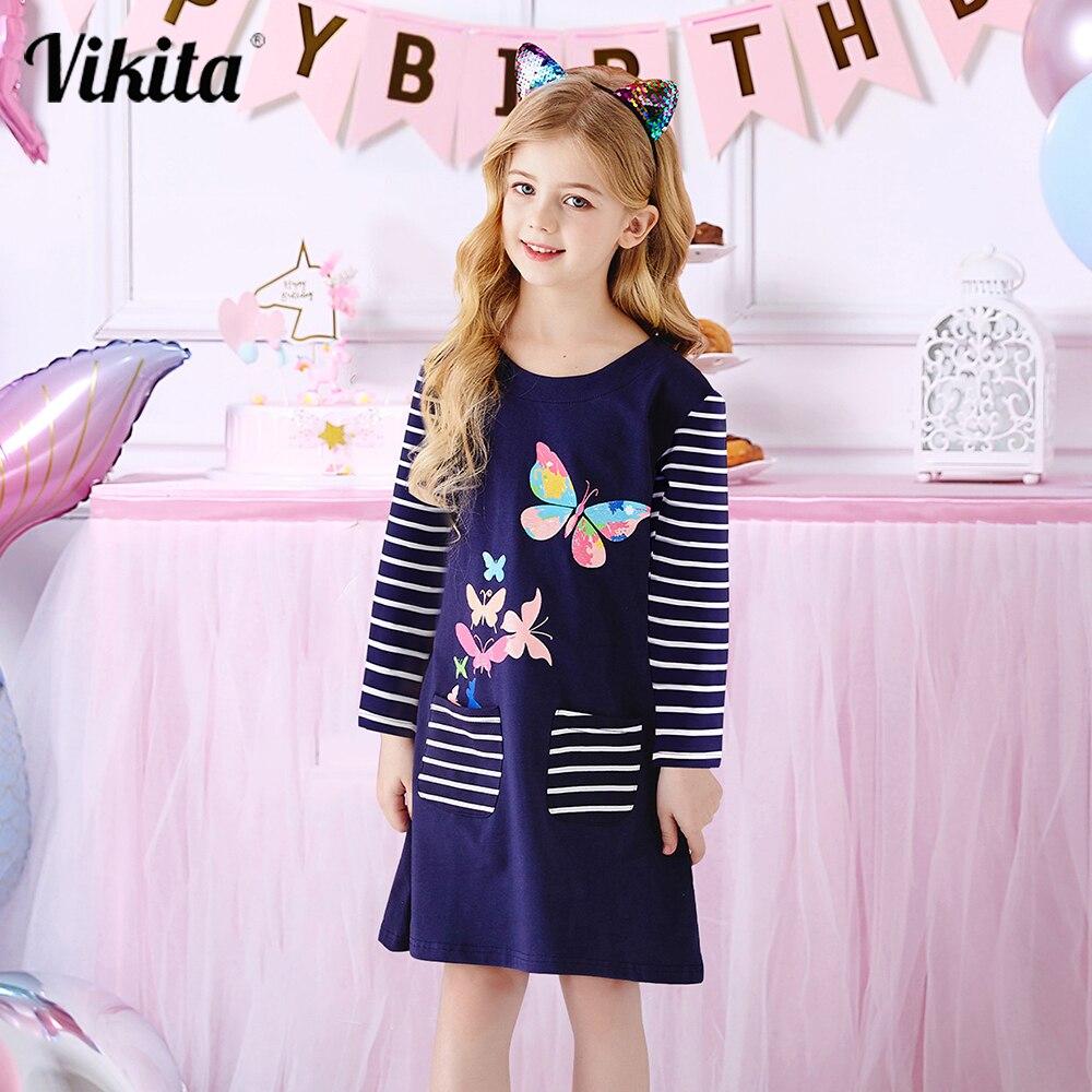 VIKITA Girls Butterfly Print Dress Girls Autumn Vestidos with Pockets Kids Striped Cotton Casual Dress Kids Clothing for 3-12Yrs girls rainbow print striped dress