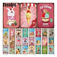 metal sign wall decor fresh delicious ice cream retro plaque juice metal poster tin sign cafe pub wall stickers vintage poster