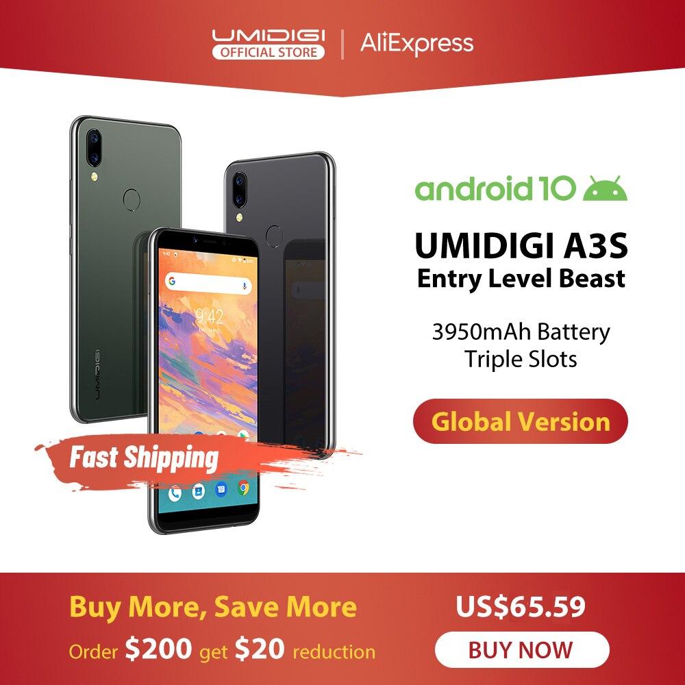 """UMIDIGI A3S Android 10 глобальная полоса 3950 мАч двойная задняя камера 5,7 """"смартфон 13 МП селфи тройные Слоты двойной 4G VoLTE Celular"""