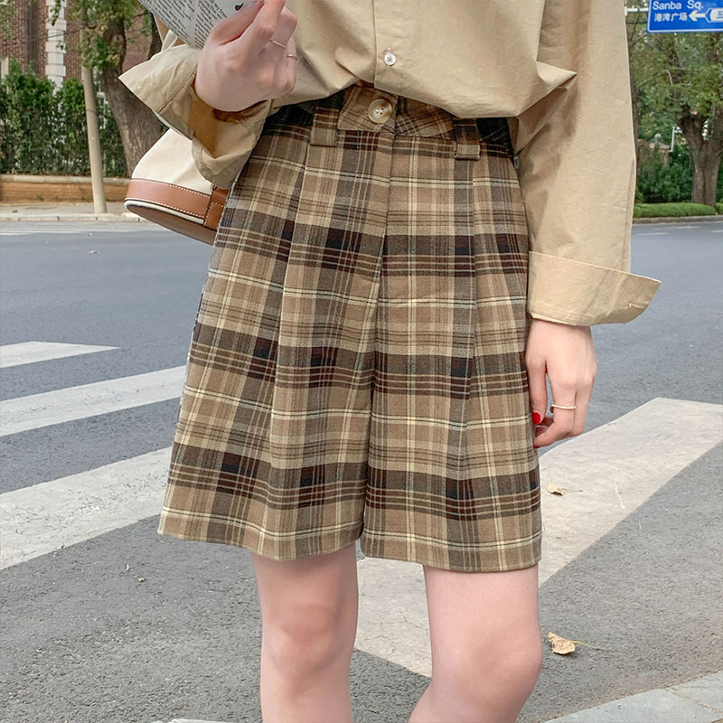 S-L 2020 autumn and winter High Waist Shorts Skirts Womens Korean style girl school vintage plaid suit Shorts womens (X1649)