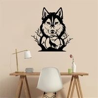 howling wolf in forest silhouette wall art animal sticker home living room decoration removable