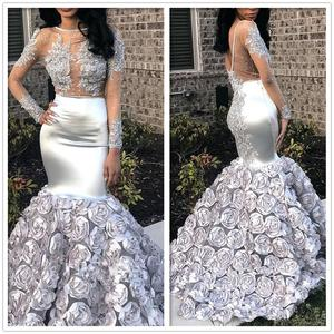 Lanvendia Women Silver Beading Lace Applque Prom Dresses for Party 2020 Sexy 3D Flowers Lace Evening Gowns Bridal  Gown